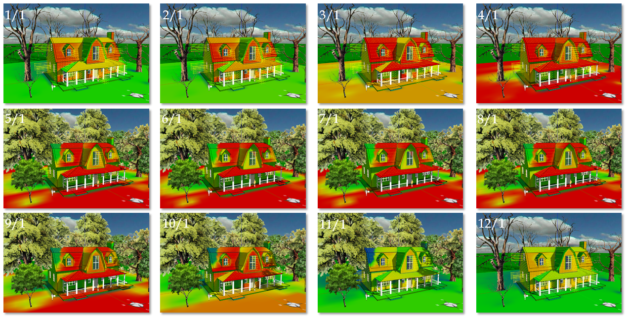 Twelve Month Solar Irradiance Heat Maps And Heat Flux Vectors On The  Building Envelope Of A House (location: Boston, MA):